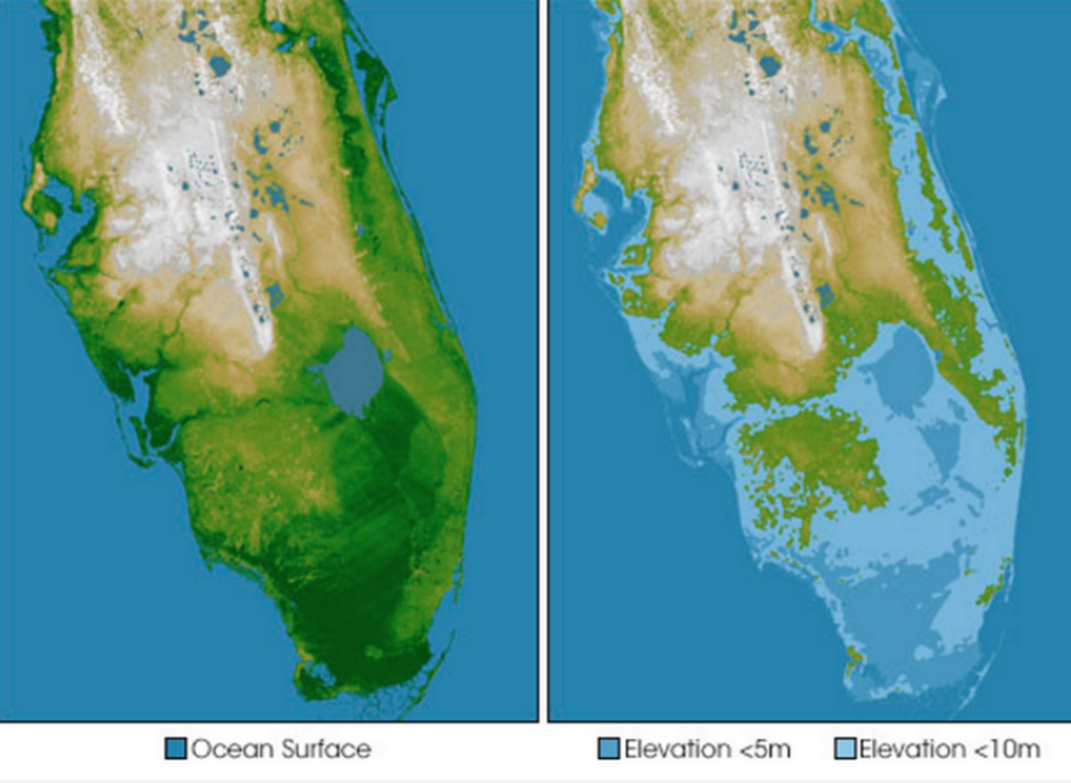 World Map If Sea Levels Rise.Alarming Map Shows What Could Be Left Of Florida If Sea Level Rises